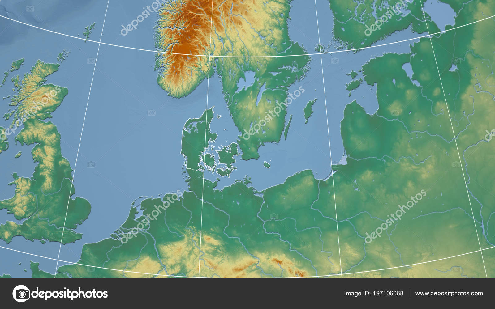 Denmark Topographic Map.Denmark Neighborhood Distant Perspective Outline Country Topographic