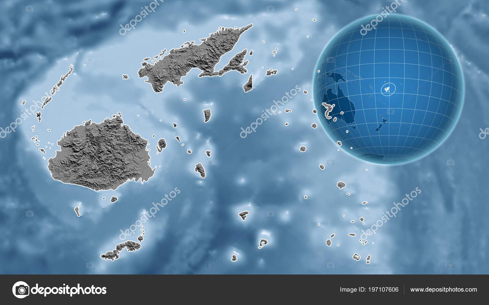 Fiji Globe Shape Country Zoomed Map Its Outline Bilevel Elevation ...