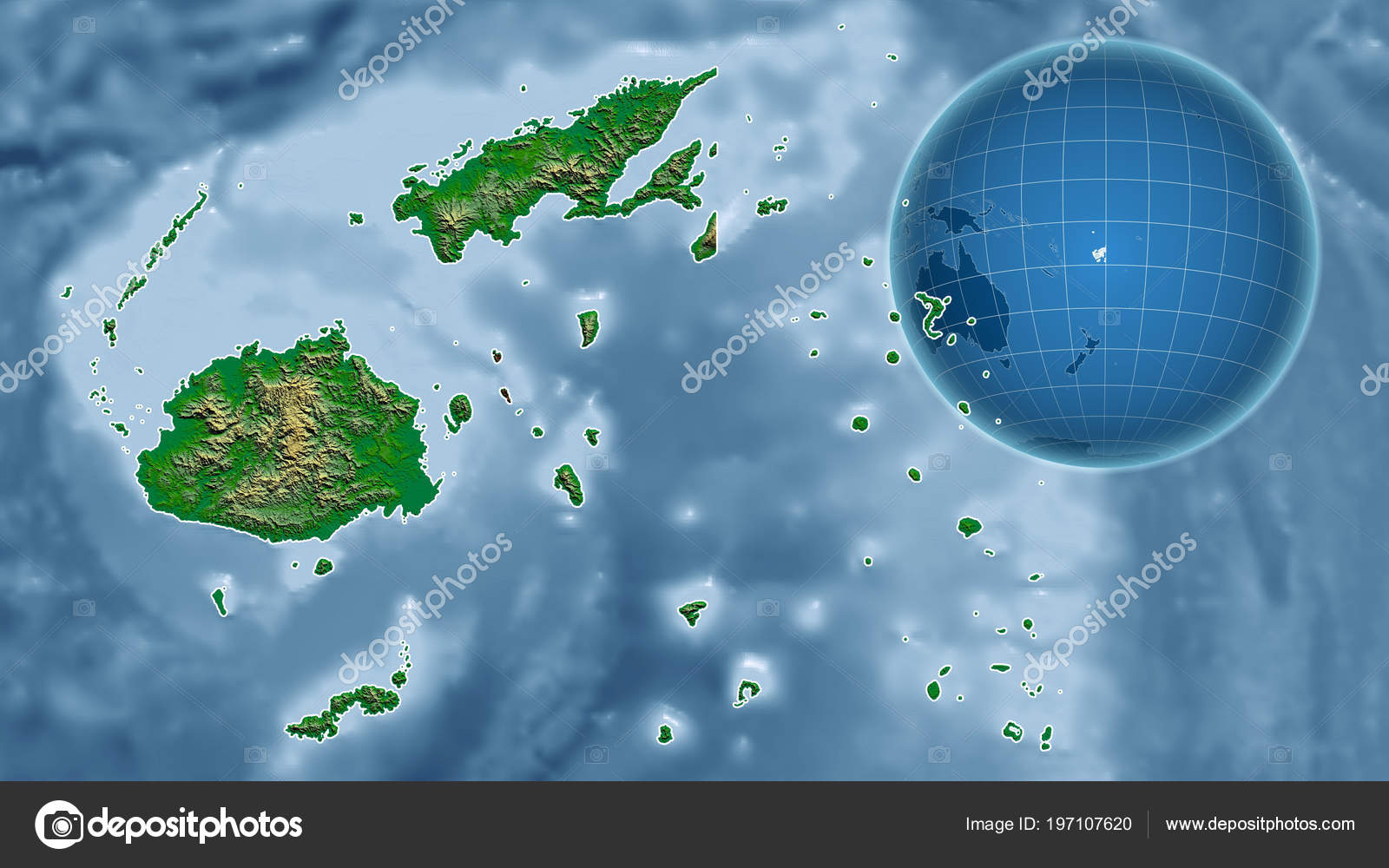 Fiji Globe Shape Country Zoomed Map Its Outline Color Physical ...