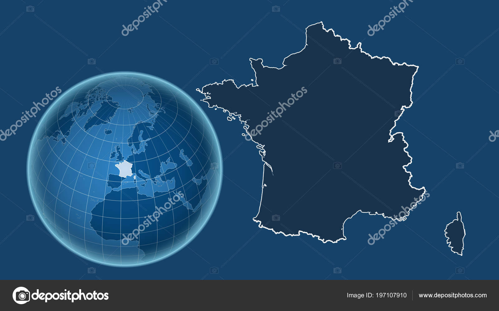 Map Of France Outline Only.France Globe Shape Country Zoomed Map Its Outline Isolated Blue