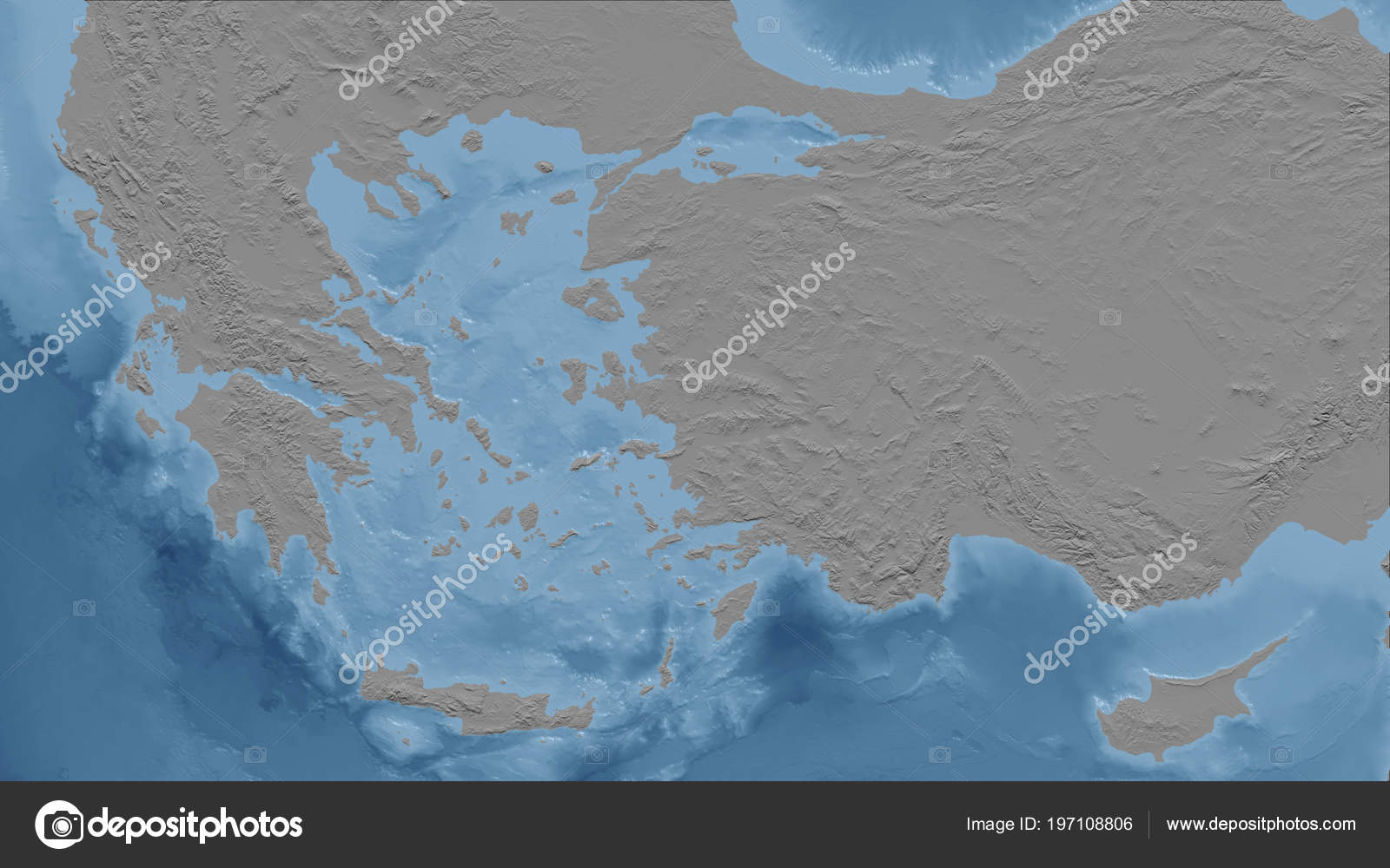 Greece Close Perspective Country Outline Bilevel Elevation Map