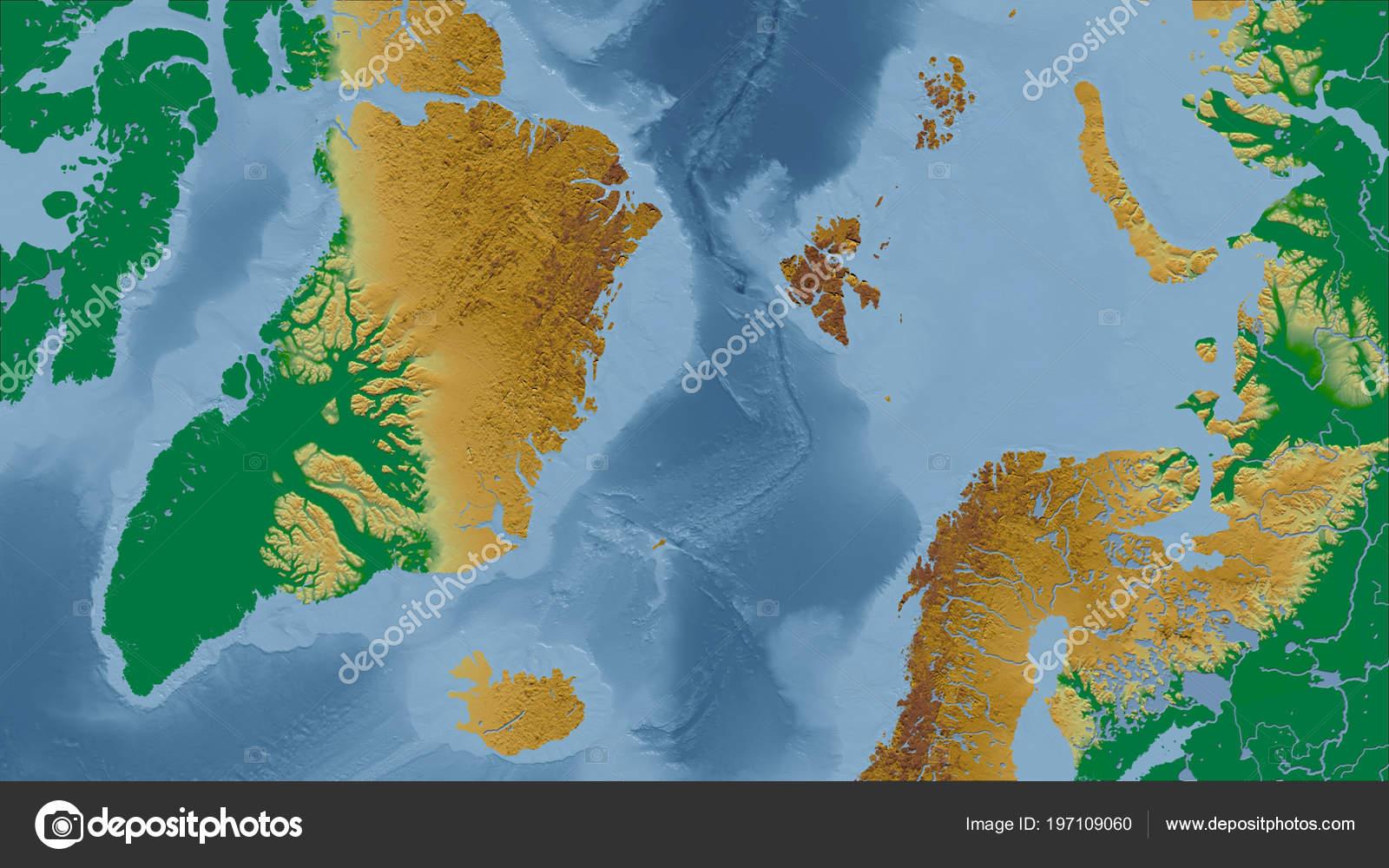 Grönland Close Perspektive Des Landes Kein Umriss Physische Karte on