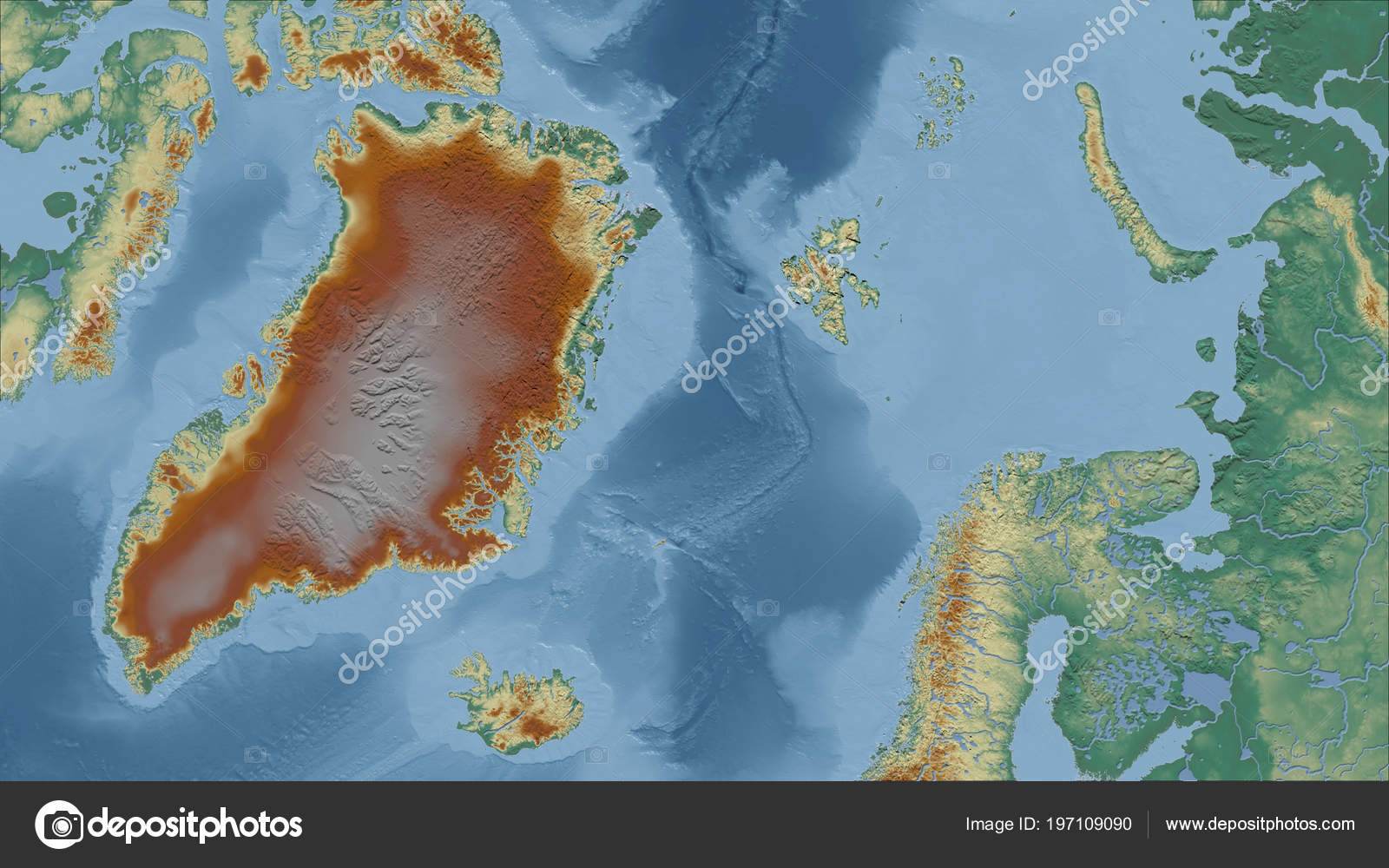 Greenland Close Perspective Country Outline Topographic Relief Map ...