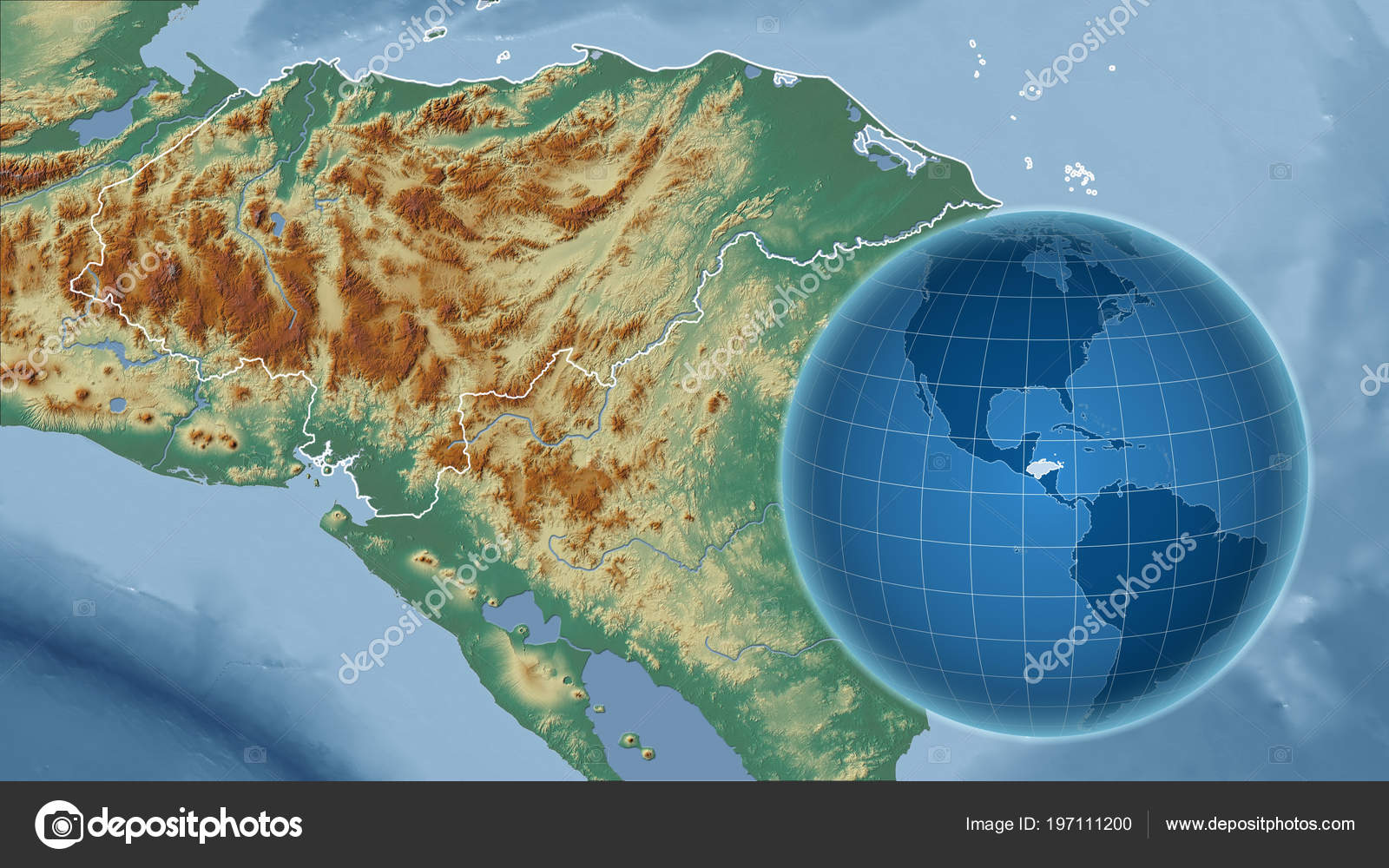 Honduras Topographic Map.Honduras Globe Shape Country Zoomed Map Its Outline Topographic
