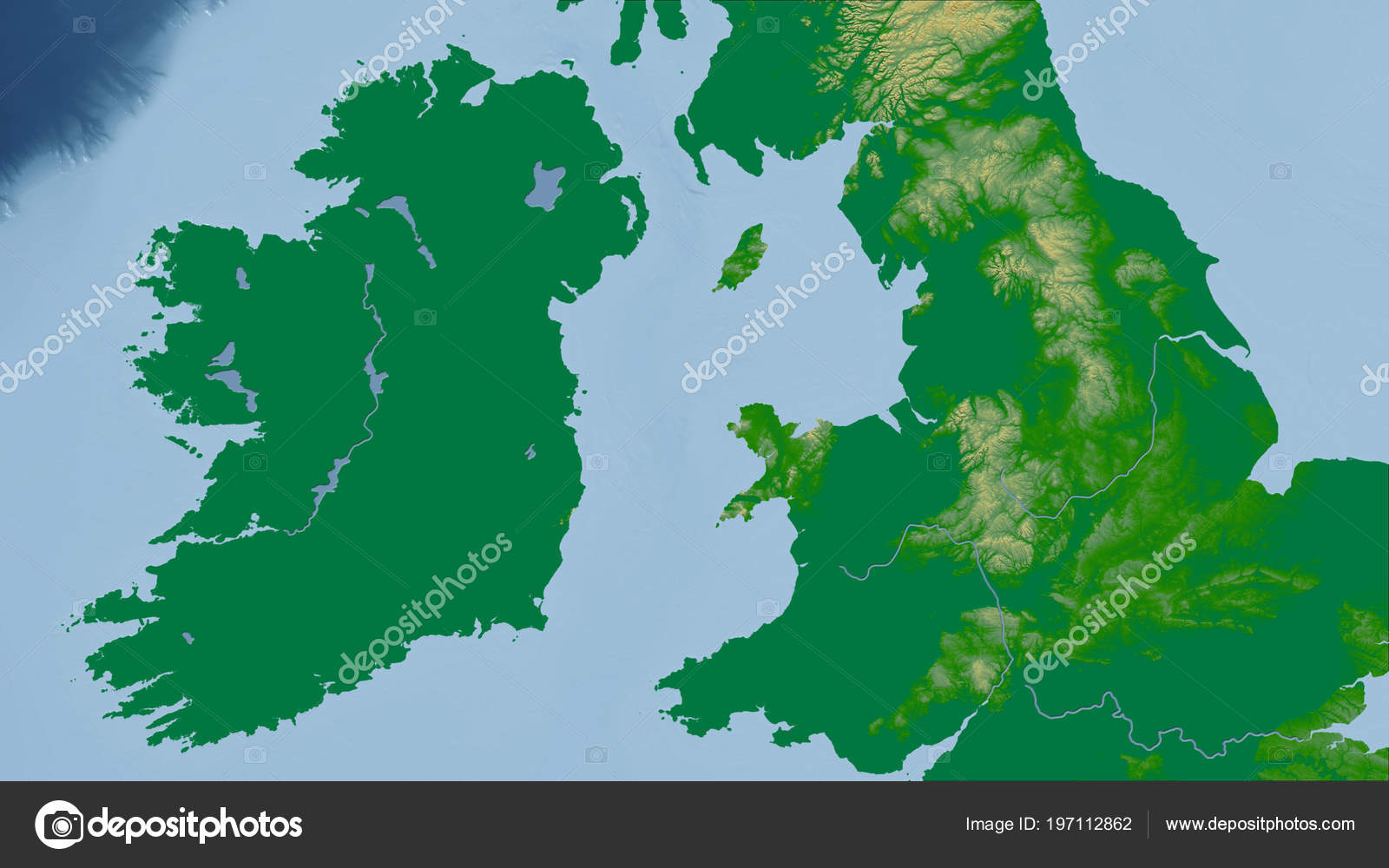 Physical Map Of Ireland.Ireland Close Perspective Country Outline Color Physical Map Stock