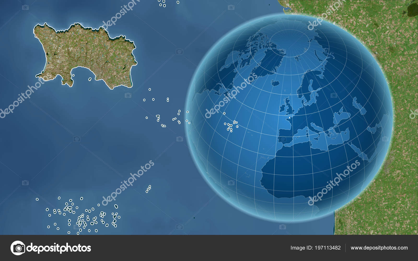 jersey globe shape country zoomed map its outline satellite imagery