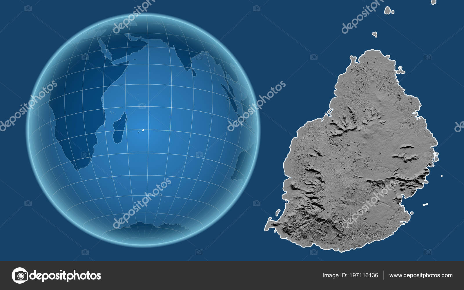 Mauritius Globe Shape Country Zoomed Map Its Outline Isolated Blue