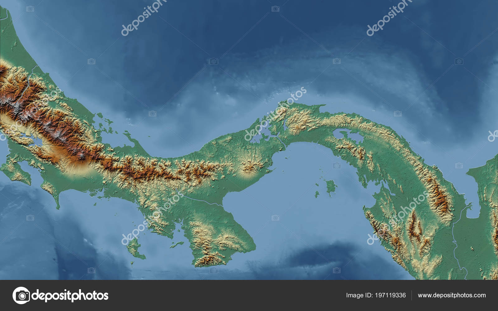 Topographic Map Of Panama.Panama Close Perspective Country Outline Topographic Relief Map