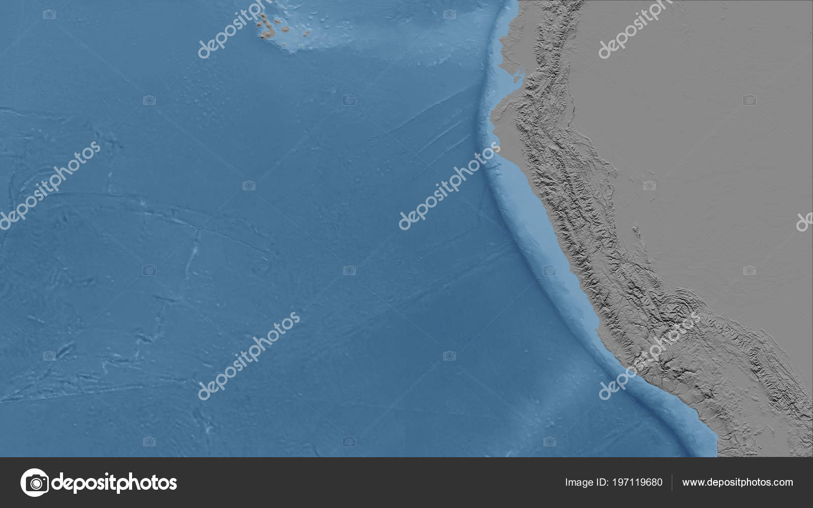 Peru Close Perspective Country Outline Bilevel Elevation Map Stock