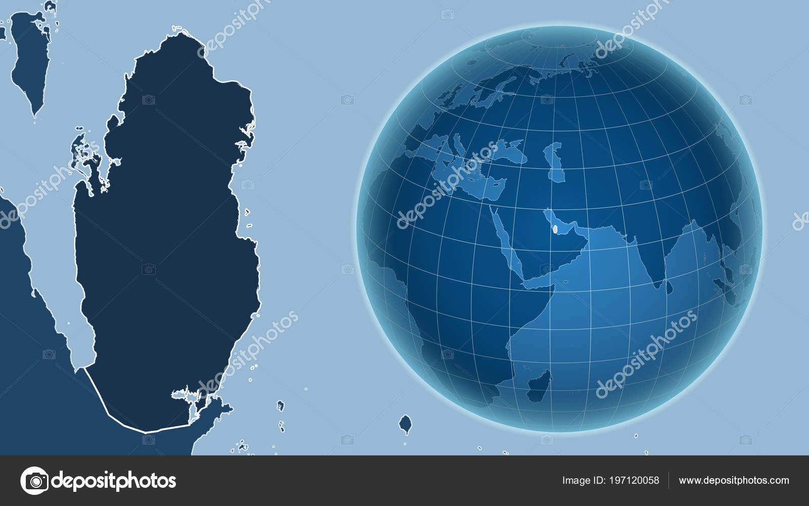 Qatar Globe Shape Country Zoomed Map Its Outline Shapes Only — Stock on