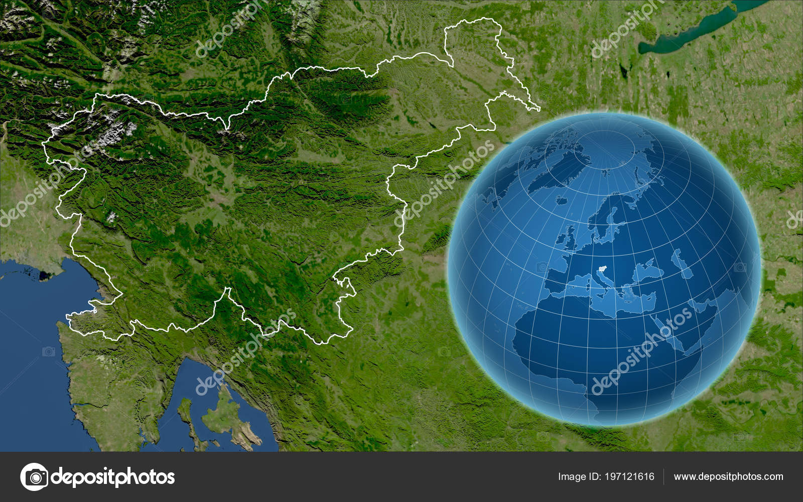 slovenia globe shape country zoomed map its outline satellite