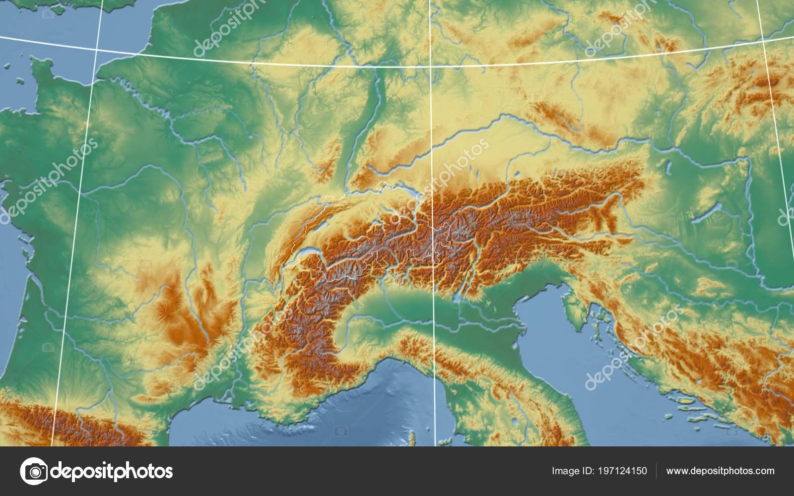 Switzerland Neighborhood Distant Perspective Outline Country