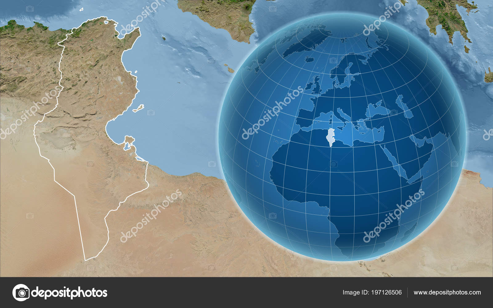 tunisia globe shape country zoomed map its outline satellite imagery