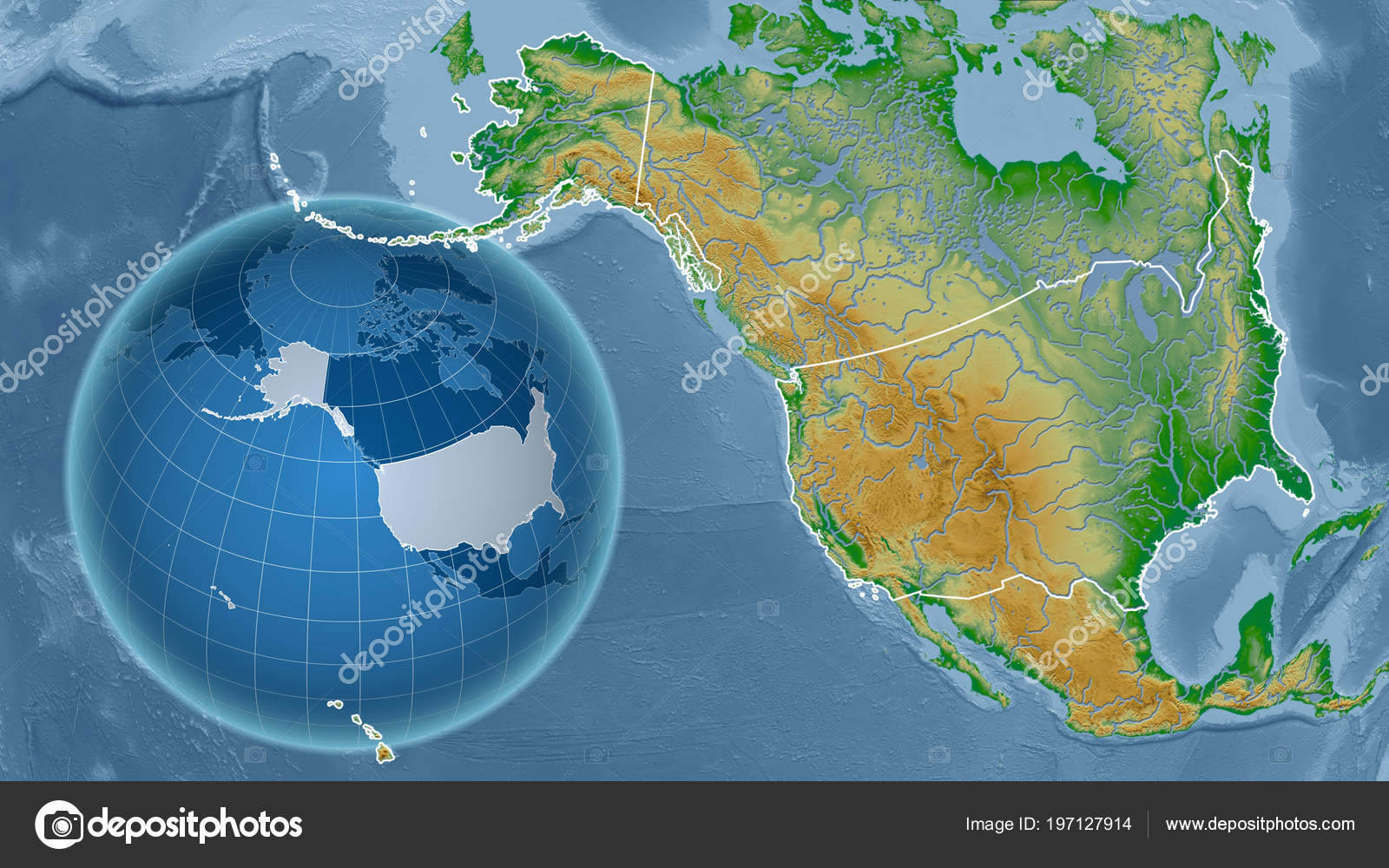 United States Alaska Globe Shape Country Zoomed Map Its Outline ...