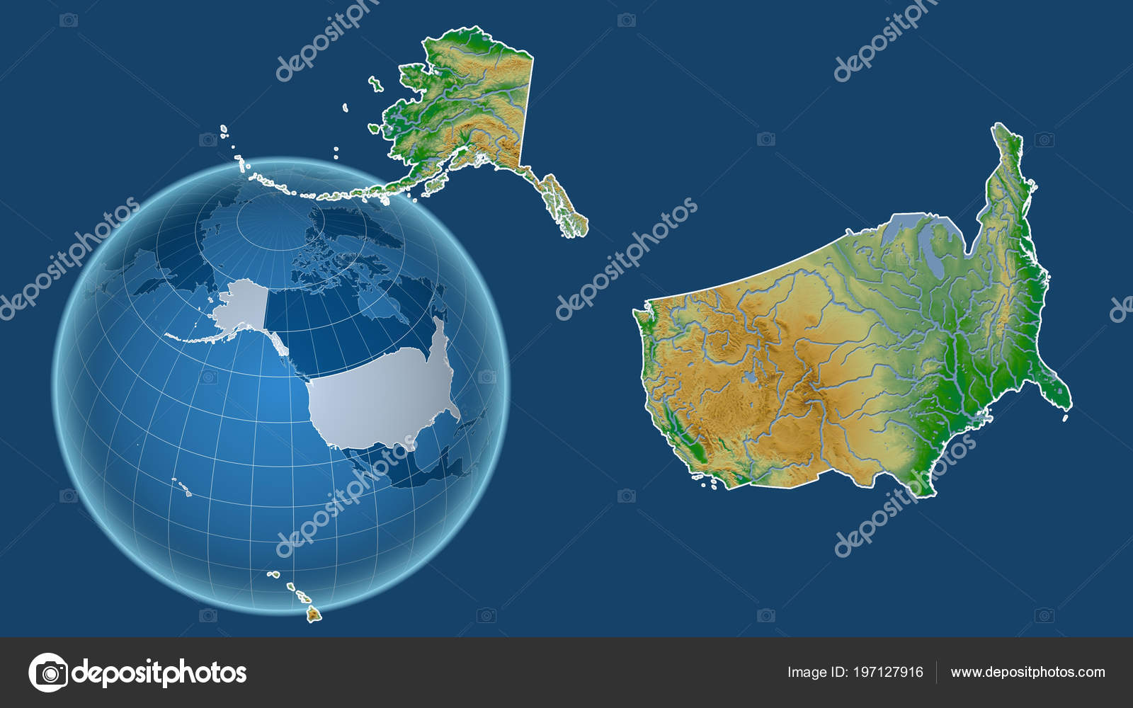 Us Map Globe.United States Alaska Globe Shape Country Zoomed Map Its Outline