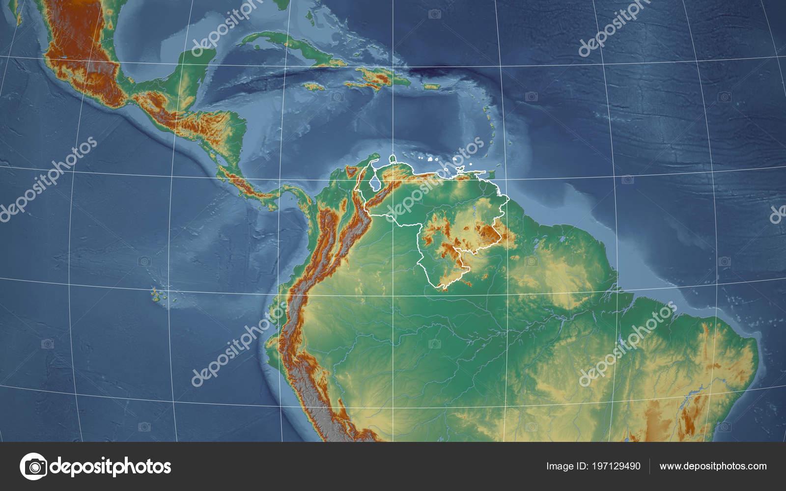 Venezuela Topographic Map.Venezuela Neighborhood Distant Perspective Outline Country