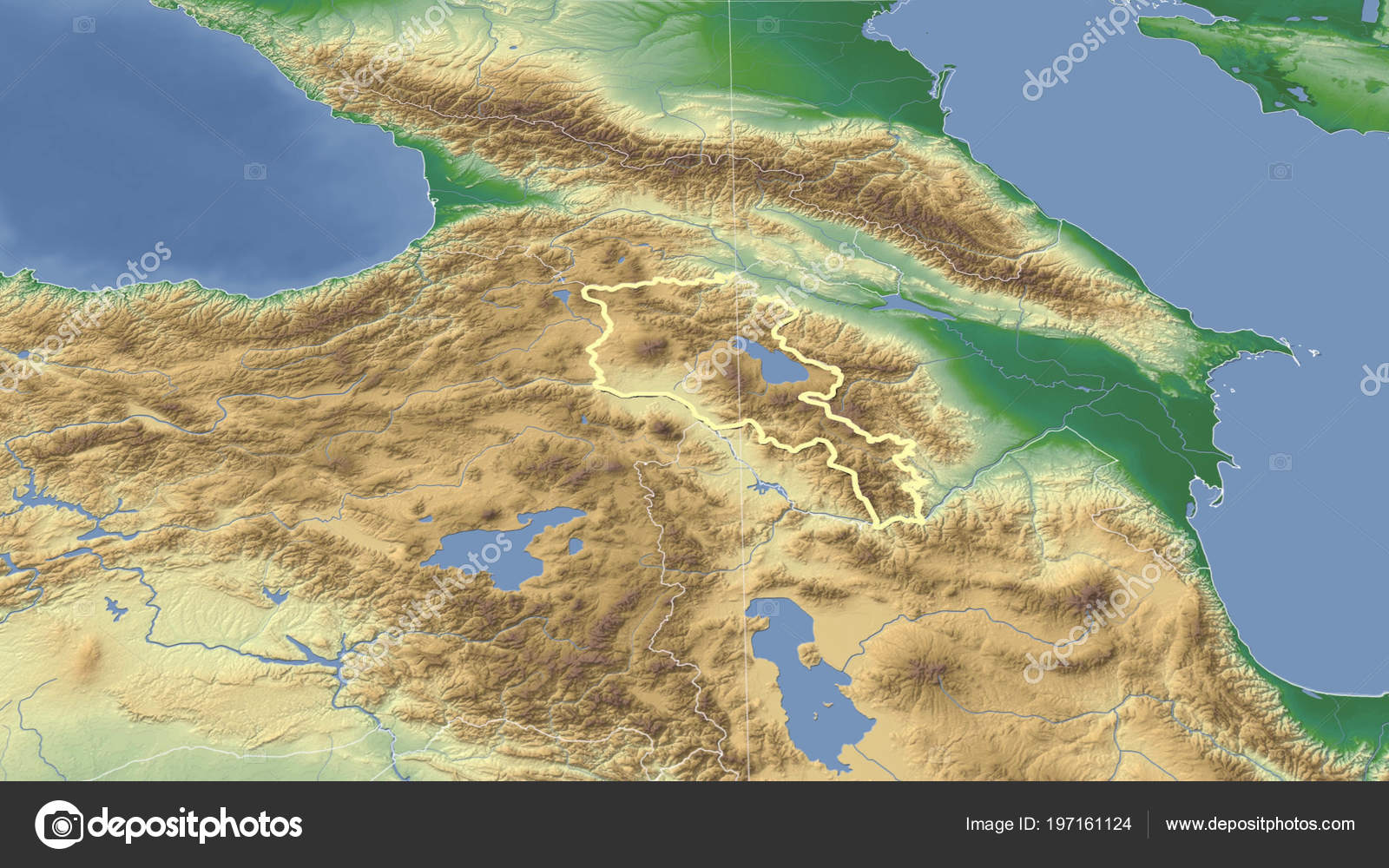 Armenia Its Neighborhood Distant Oblique Perspective Shape ...