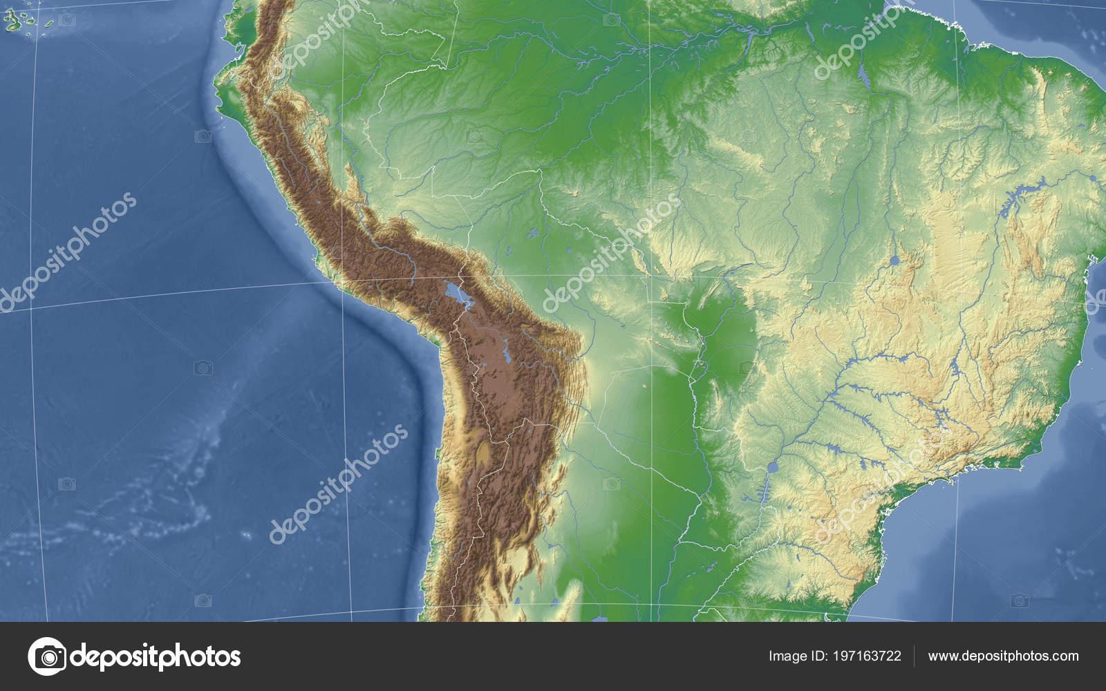 Bolivia Sus Vecinos Perspectiva Oblicua Distante Ningún Contorno