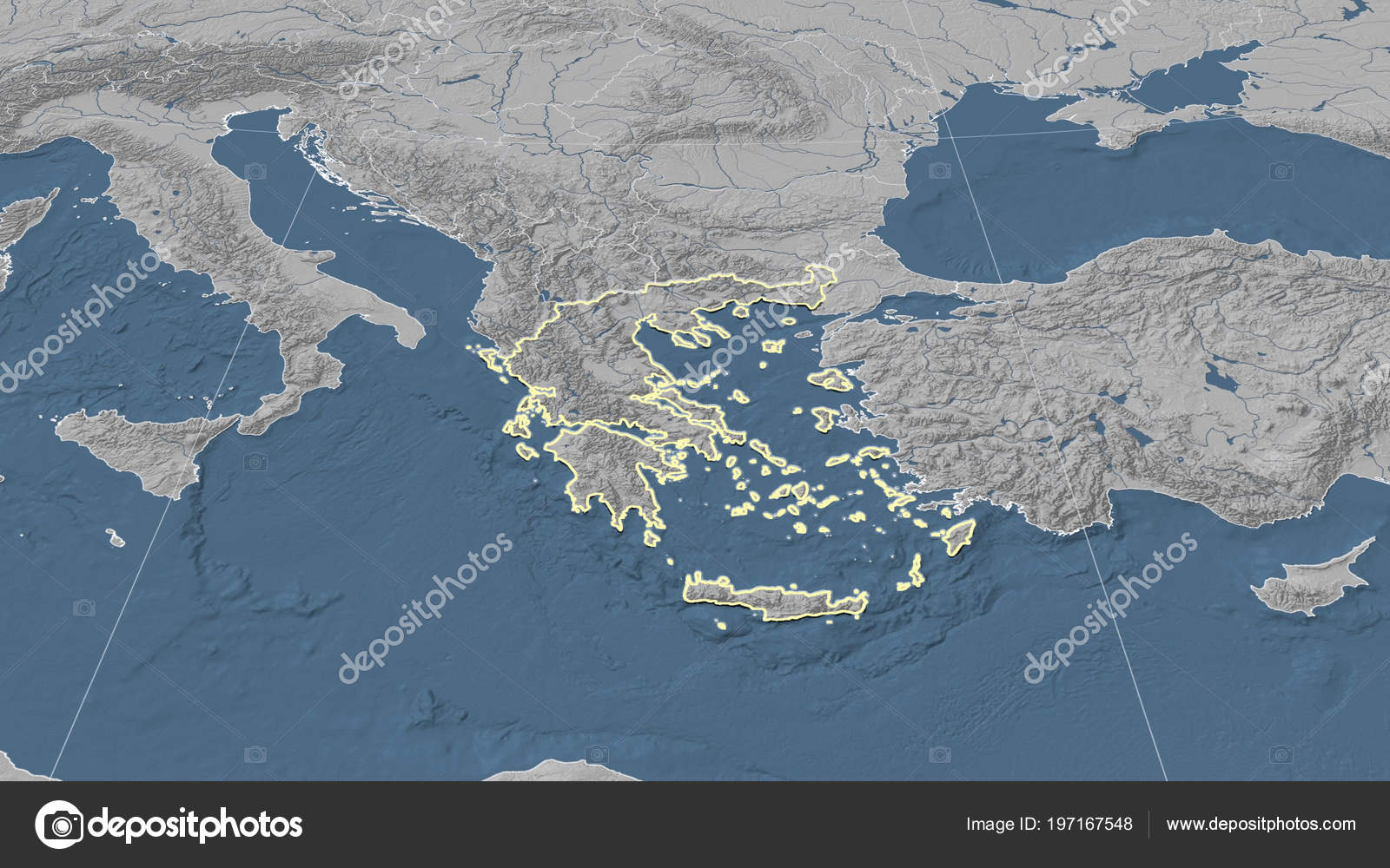 Greece Its Neighborhood Distant Oblique Perspective Shape Outlined