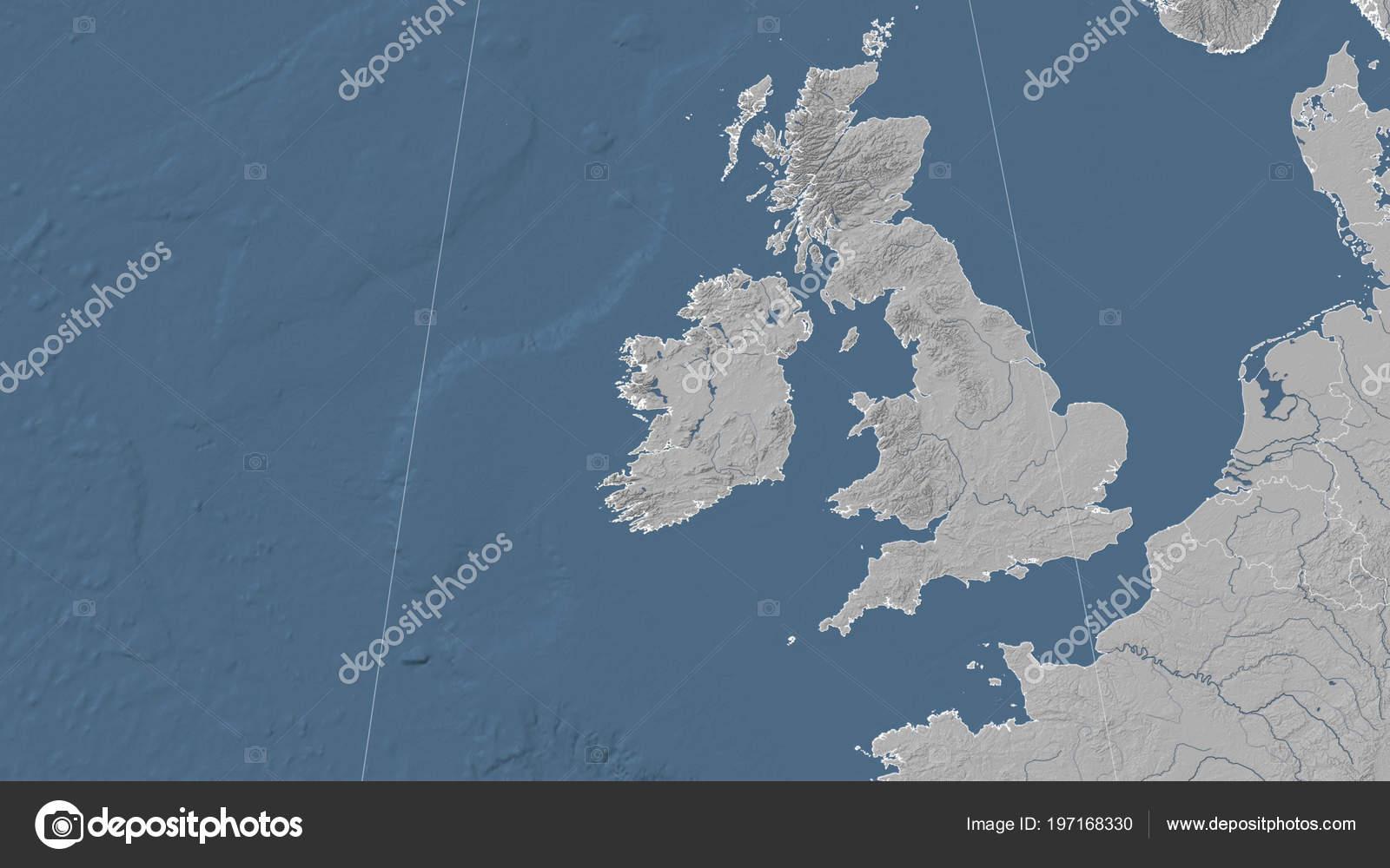 Ireland Elevation Map.Ireland Its Neighborhood Distant Oblique Perspective Outline Bilevel