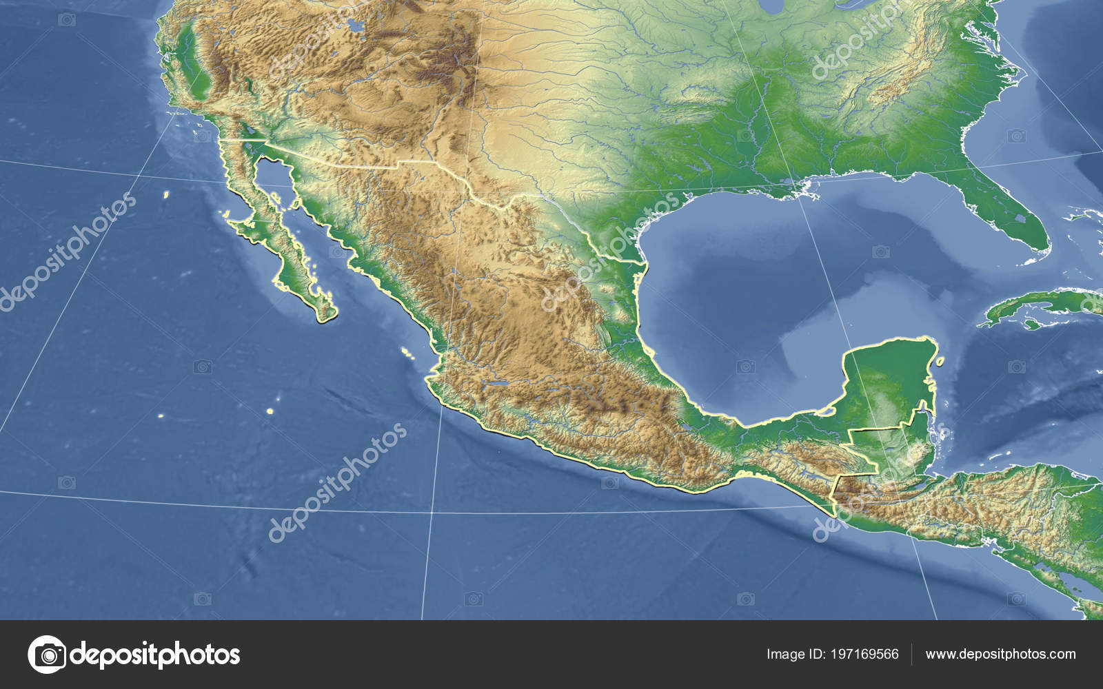 Mexico Its Neighborhood Distant Oblique Perspective Shape ...