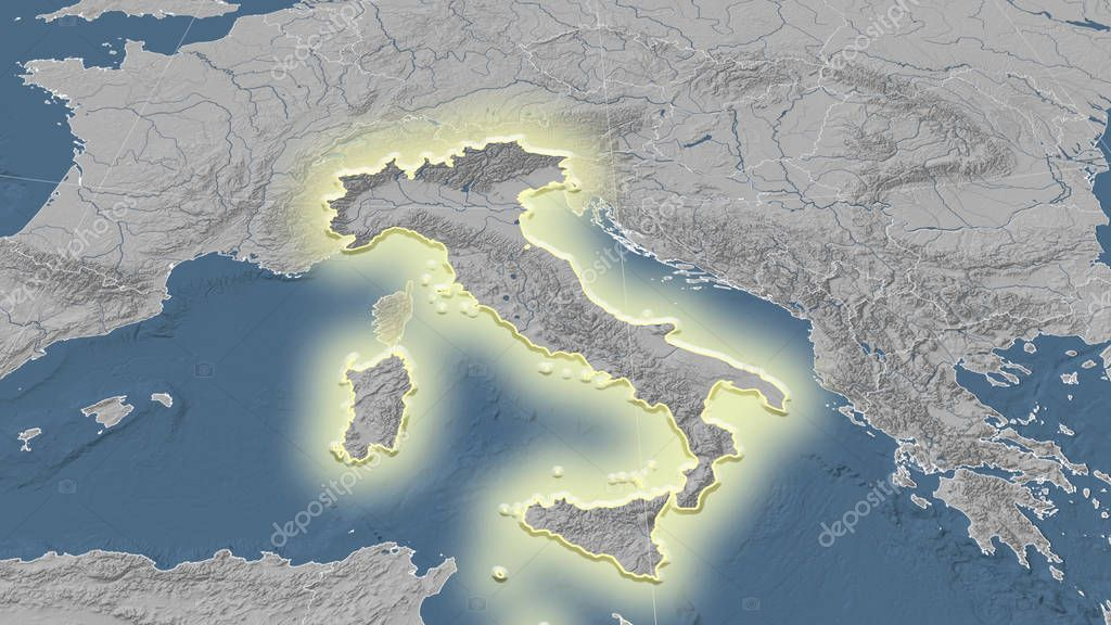 Italy and its neighborhood. Distant oblique perspective - shape glowed. Bilevel elevation map