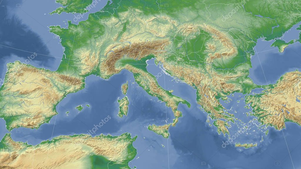 Italy and its neighborhood. Distant oblique perspective - no outline. Color physical map