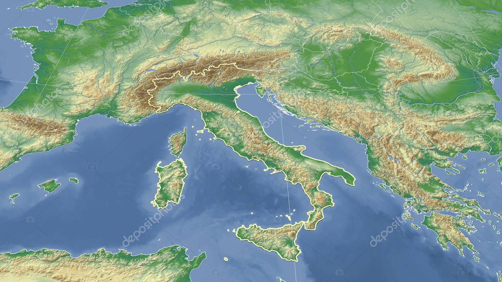 Italy and its neighborhood. Distant oblique perspective - shape outlined. Color physical map