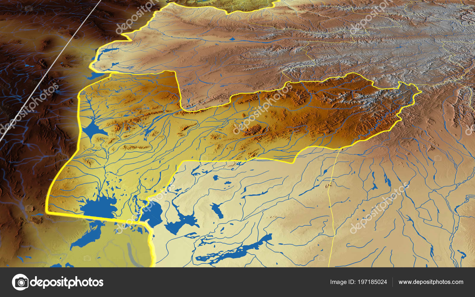 Farah Region Afghanistan Outlined Color Physical Map — Stock Photo on