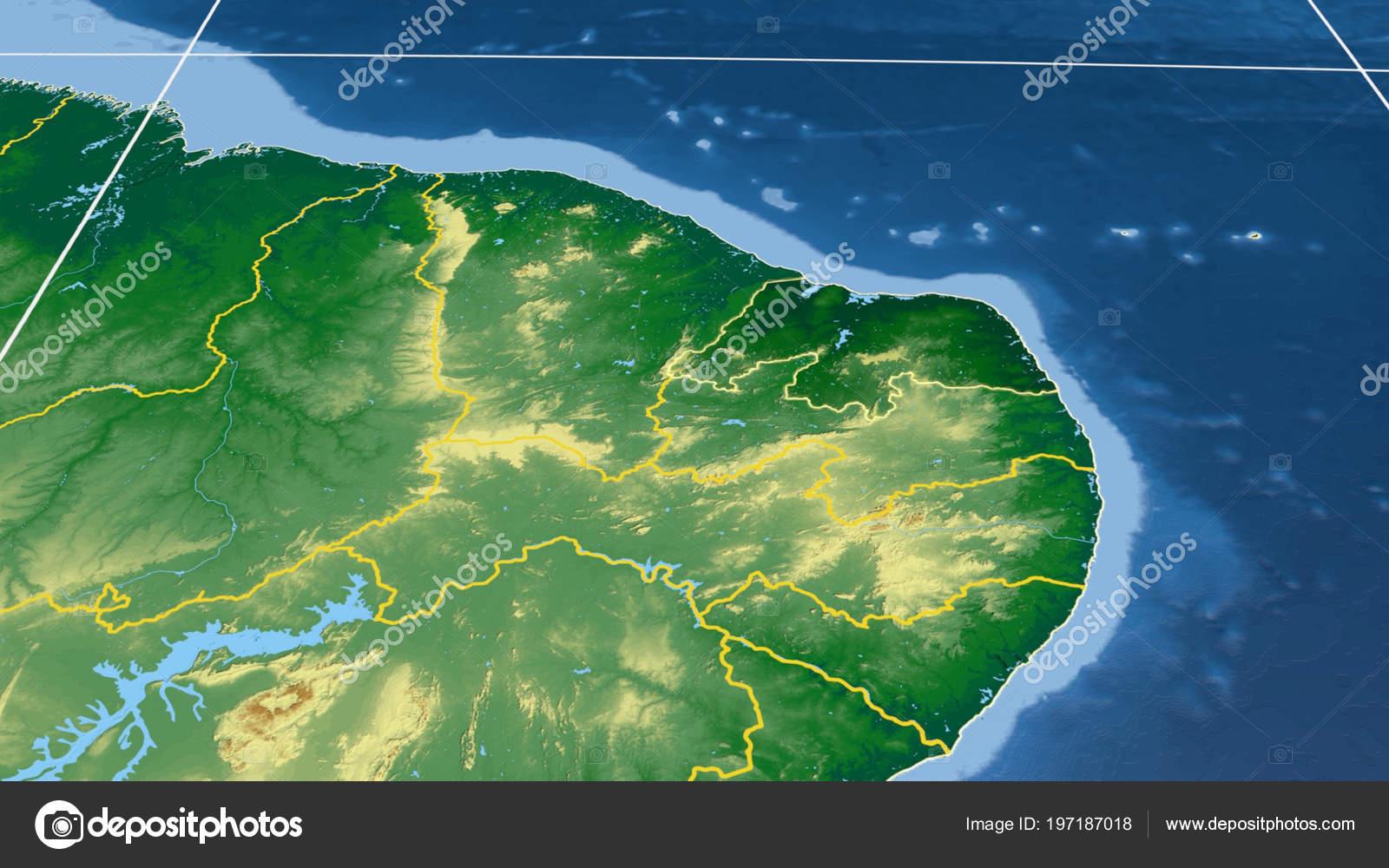 Rio Grande Mapa Fisico.Rio Grande Norte Regiao Brasil Delineado Mapa Fisico Cor