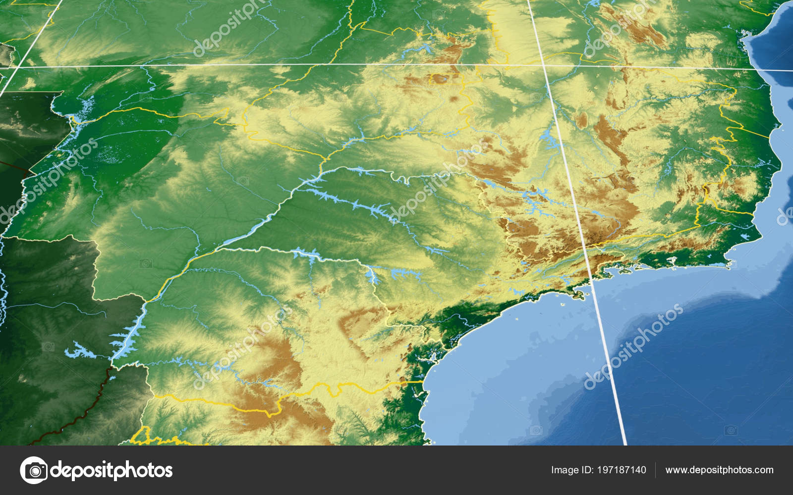 Sao Paulo Region Brazil Outlined Color Physical Map Stock Photo