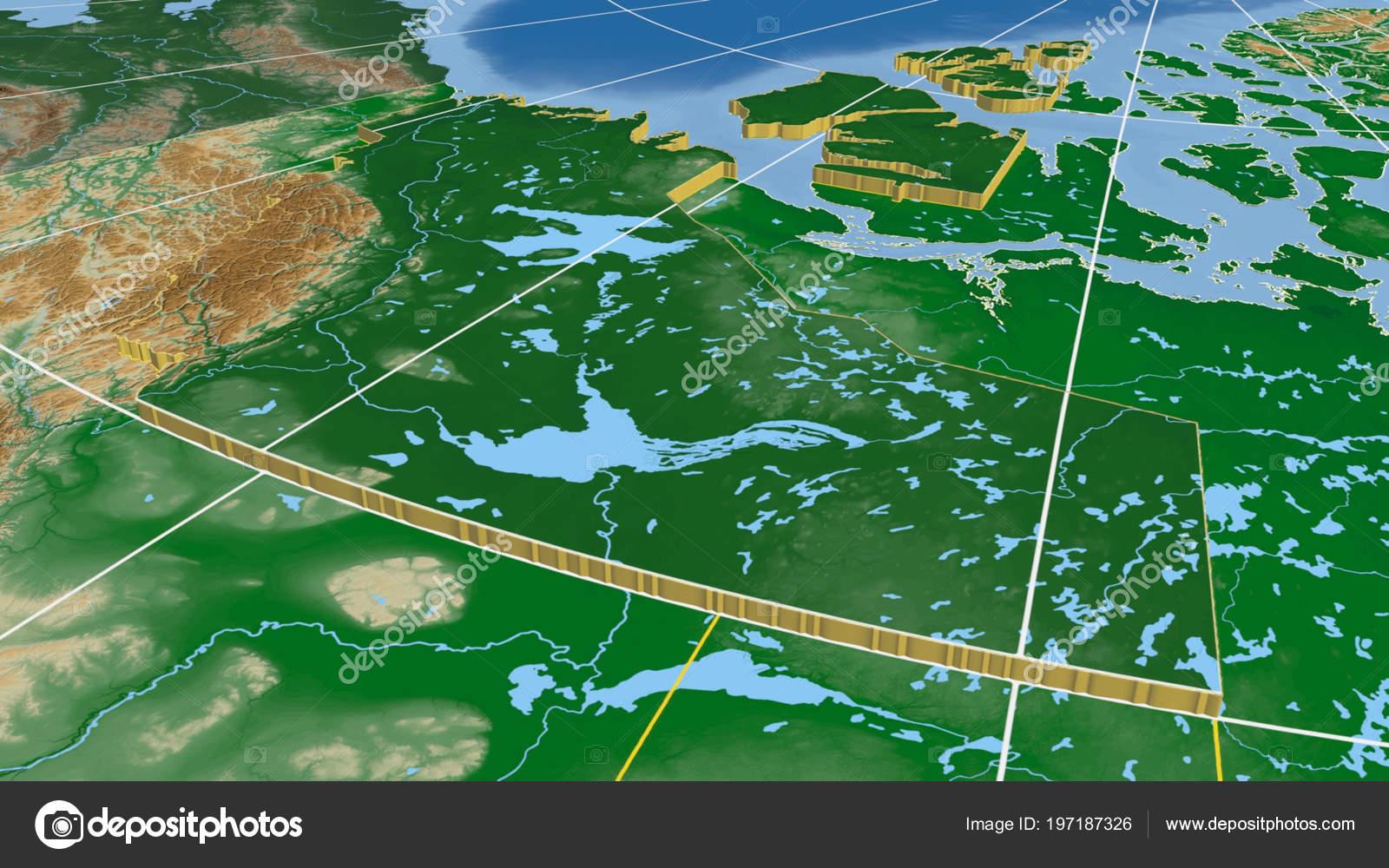 Carte Canada Region.Territoires Nord Ouest Region Canada Extrude Carte Physique Couleur