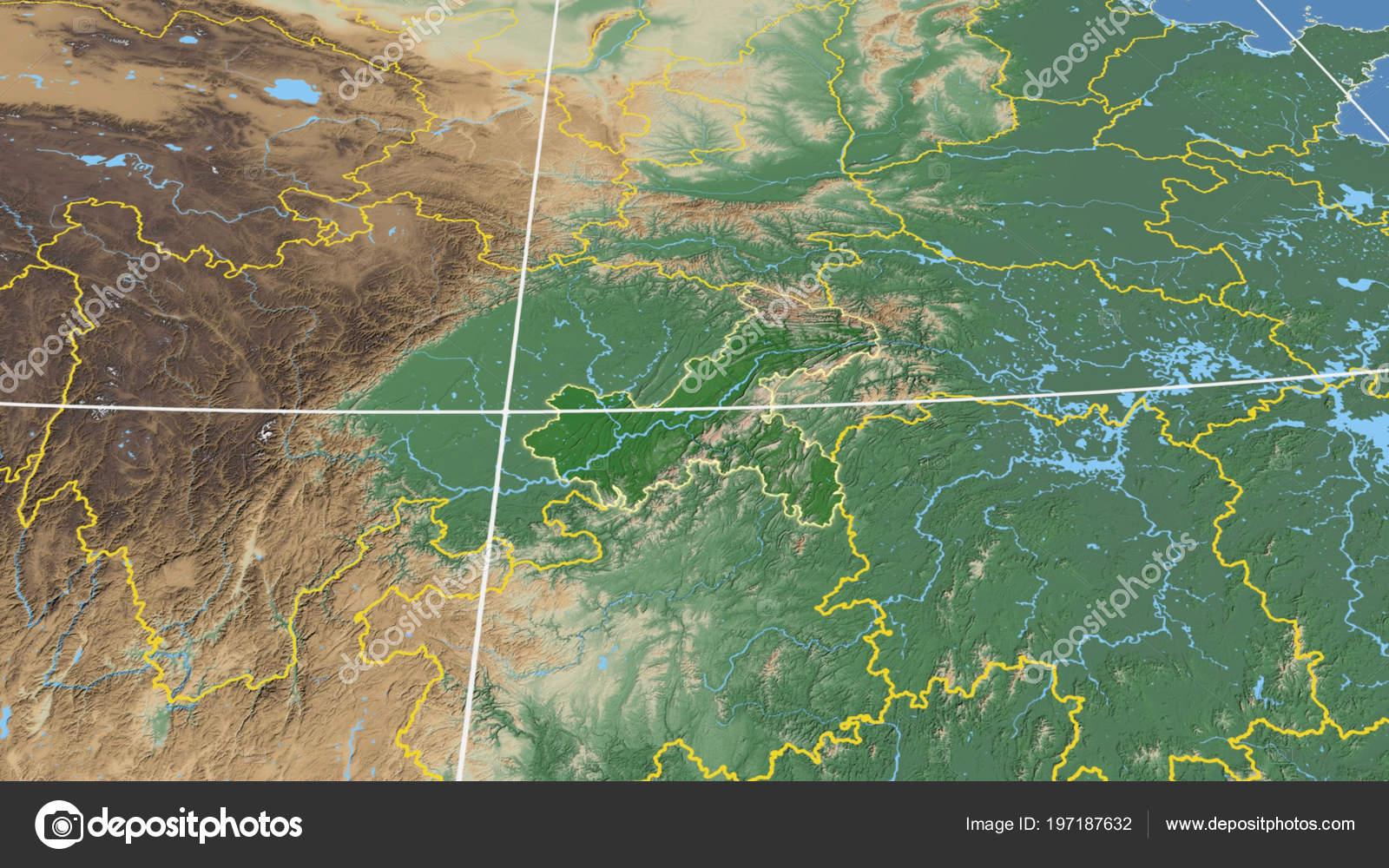China Karte Physisch.Chongqing Region Von China Beschrieben Physische Karte Der Farbe
