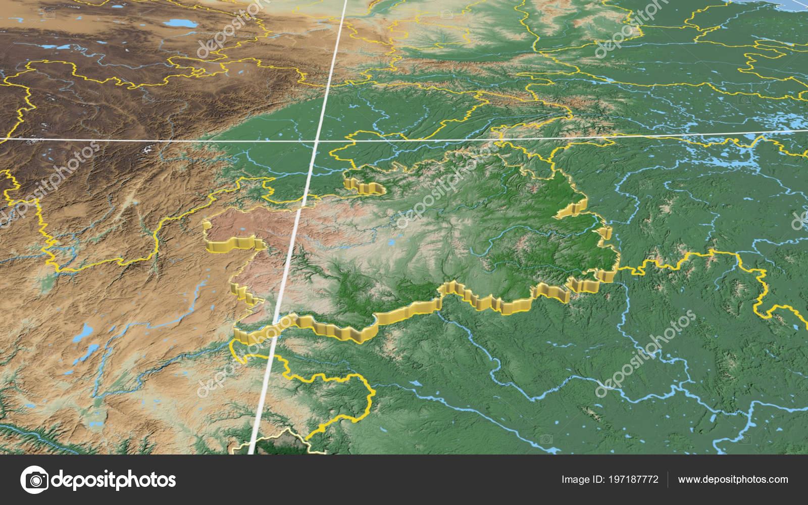 China Karte Physisch.Guizhou Extrudiert Region Von China Physische Karte Der Farbe