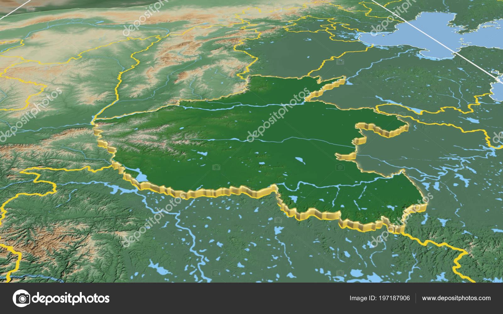 China Karte Physisch.Henan Extrudiert Region Von China Physische Karte Der Farbe