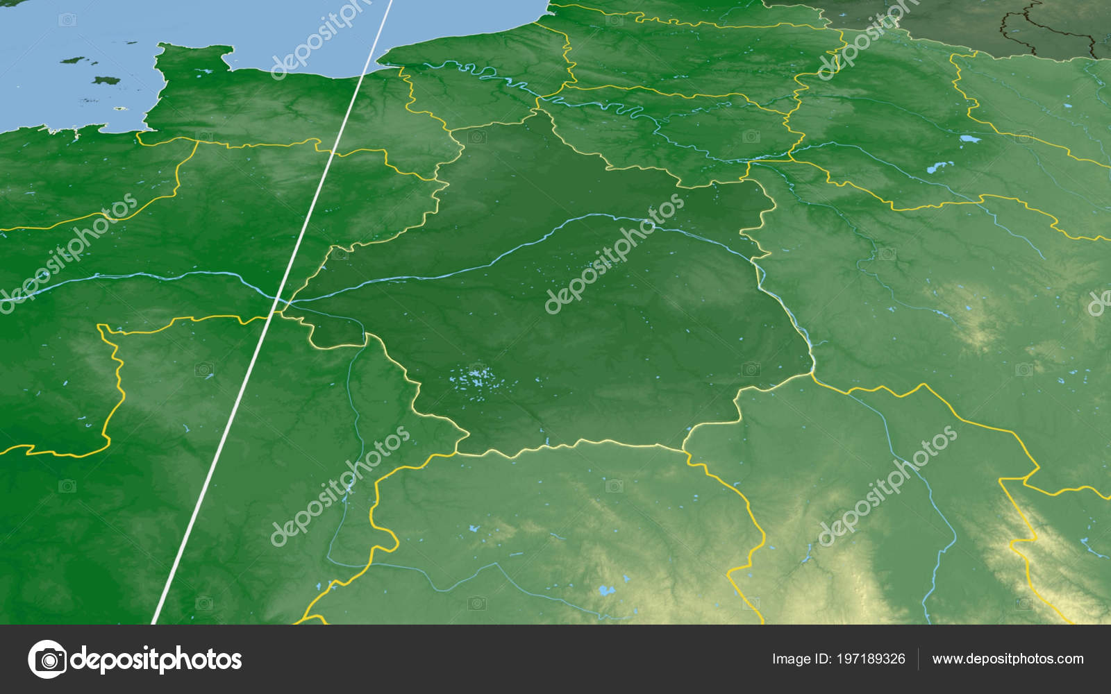 Centre Region France Outlined Color Physical Map — Stock ...