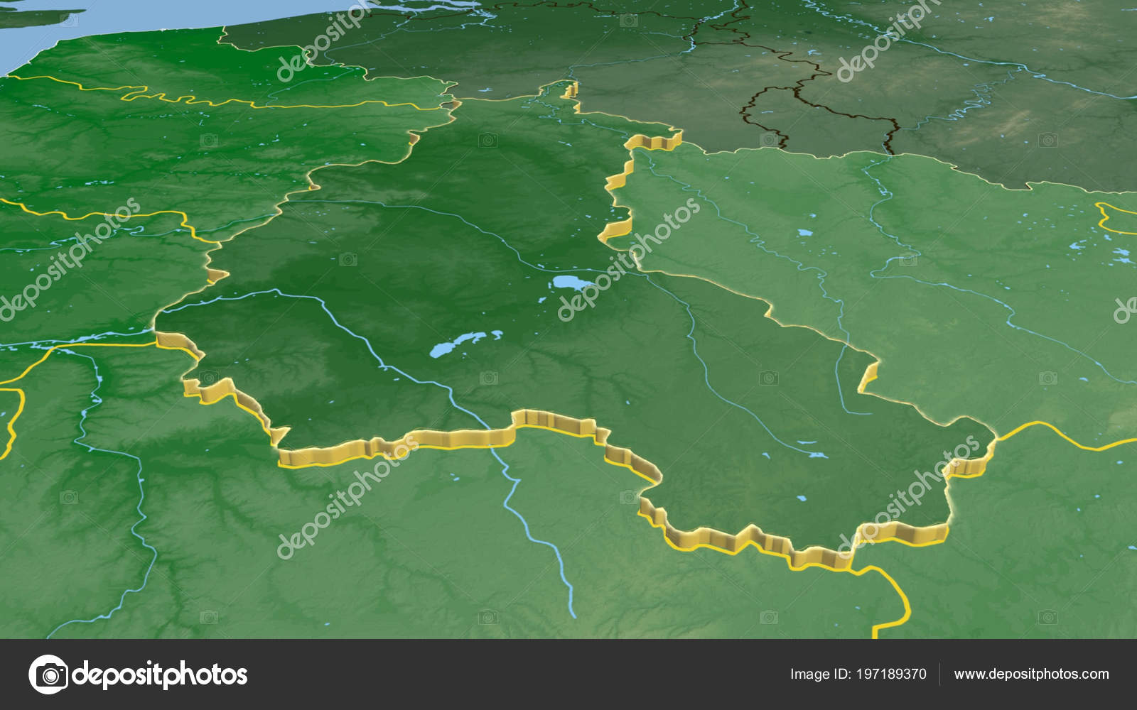 Champagne Ardenne Region France Extruded Color Physical Map ...