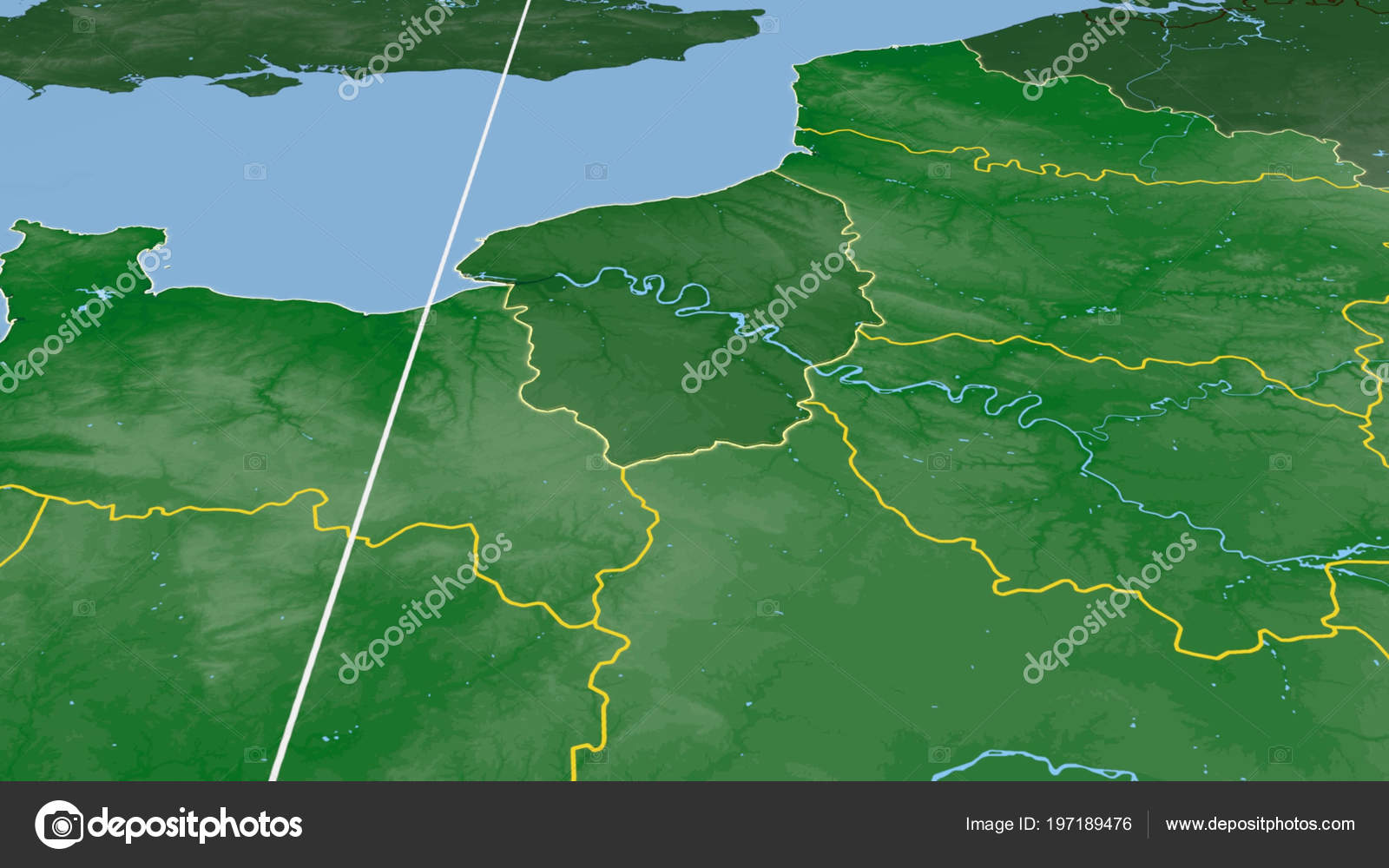Haute Normandie Region France Outlined Color Physical Map ...