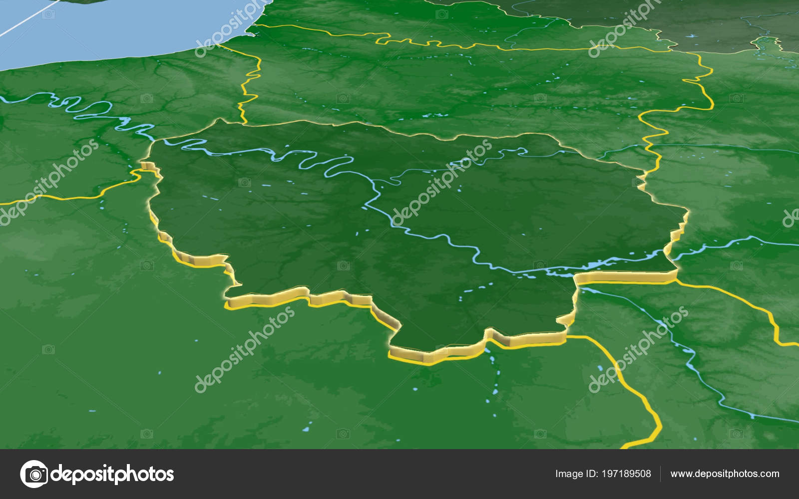 Ile France Region France Extruded Color Physical Map — Stock ...