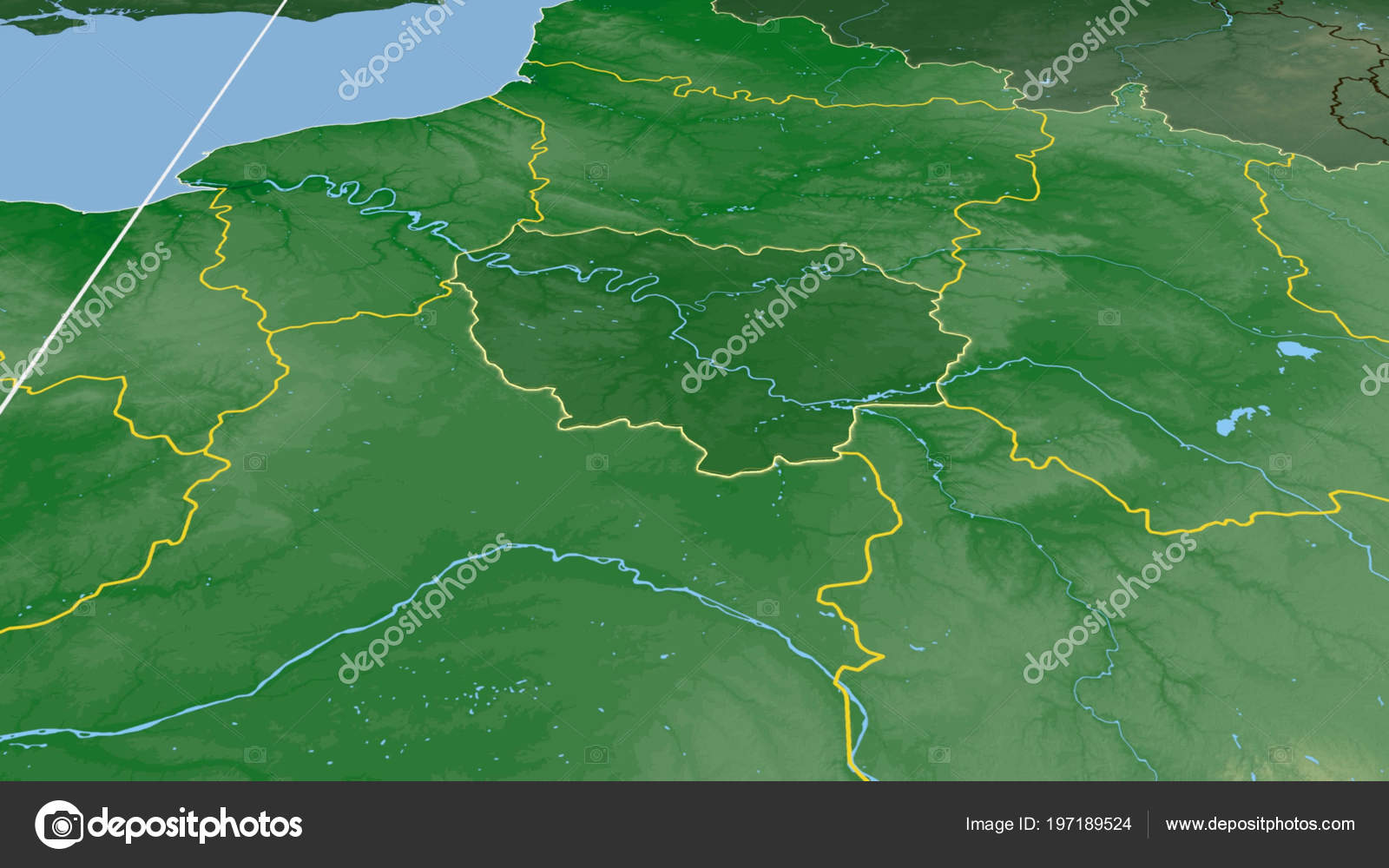 Ile France Region France Outlined Color Physical Map — Stock ...