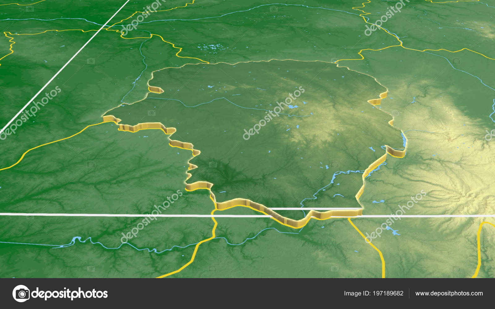 Limousin Region France Extruded Color Physical Map — Stock ...