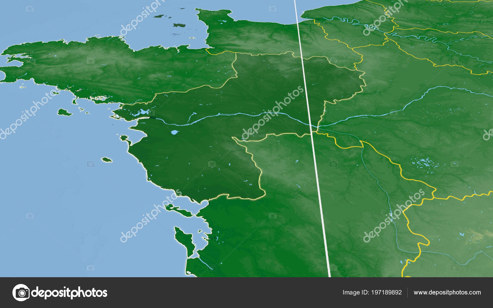 Pays Loire Region France Outlined Color Physical Map — Stock ...