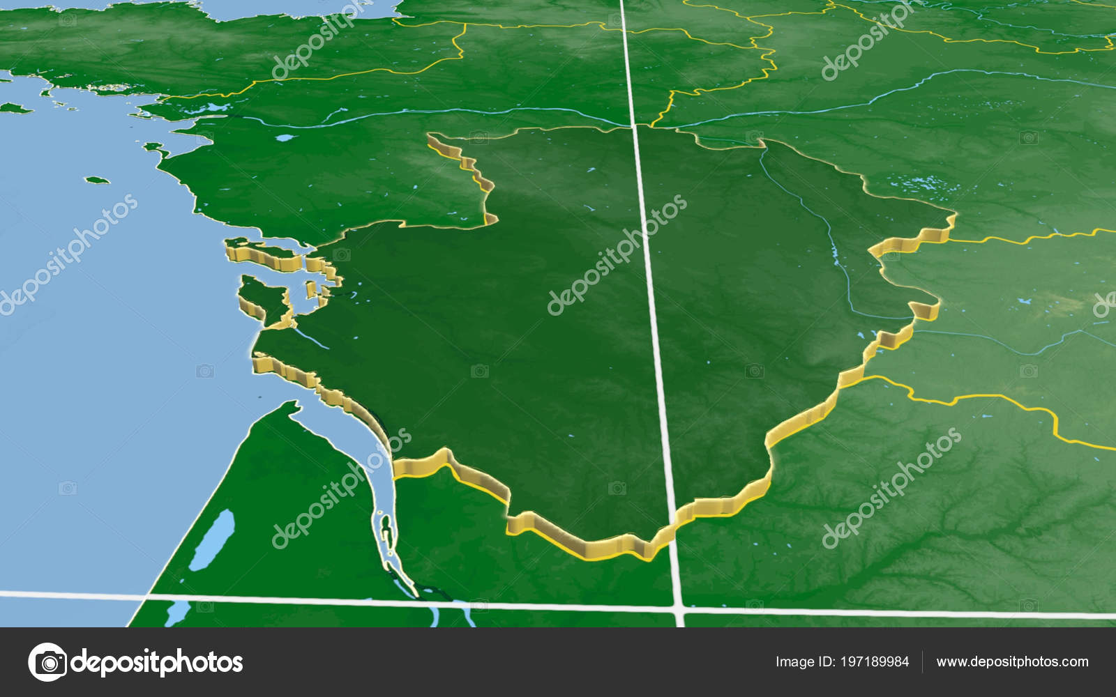 Poitou Charentes Region France Extruded Color Physical Map ...