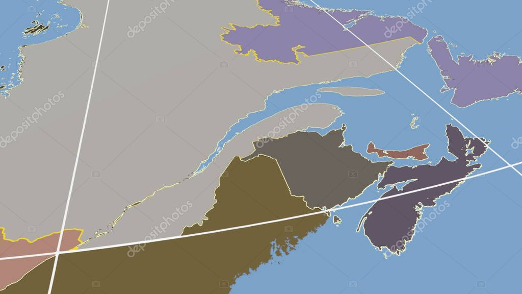New-Brunswick, region of Canada outlined. Shapes only - land/ocean mask
