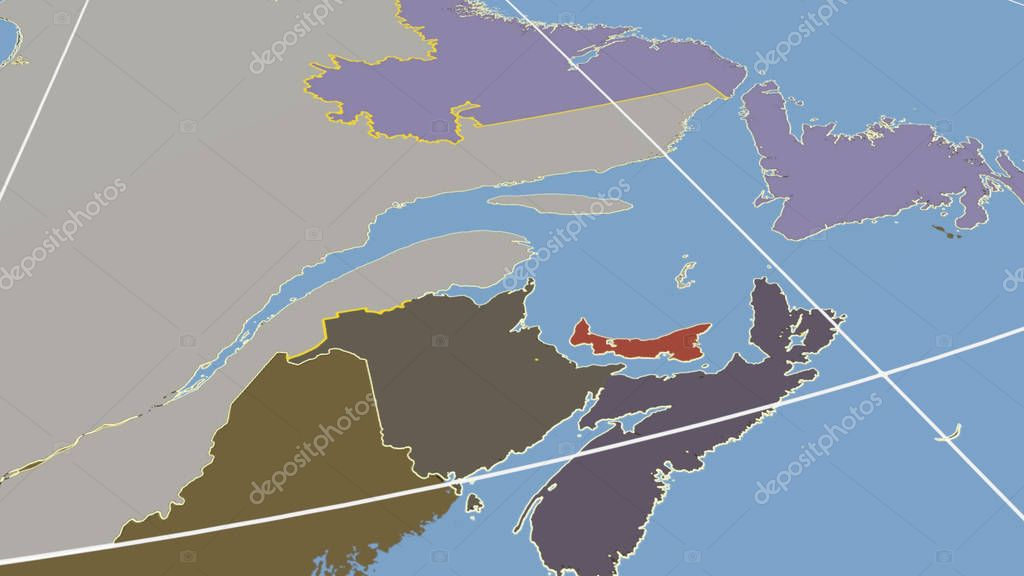 Prince-Edward-Island, region of Canada outlined. Shapes only - land/ocean mask