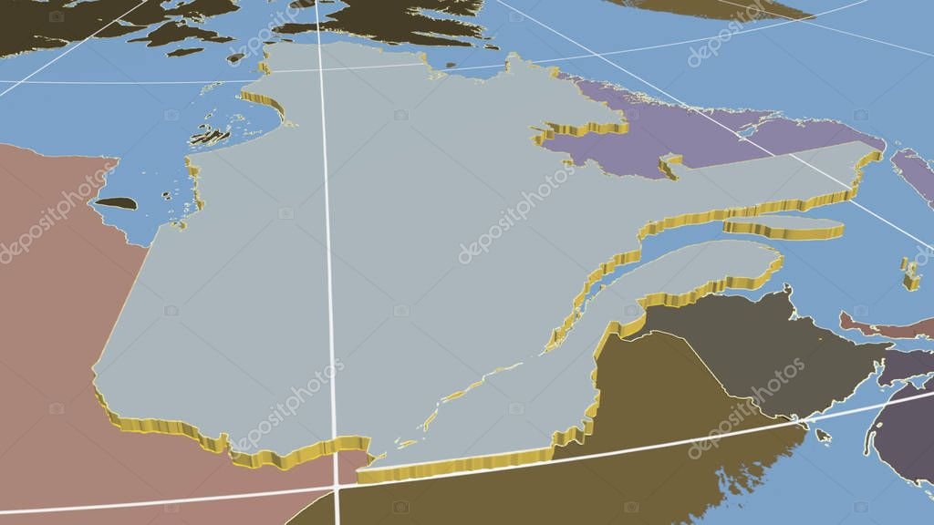 Quebec, region of Canada extruded. Shapes only - land/ocean mask