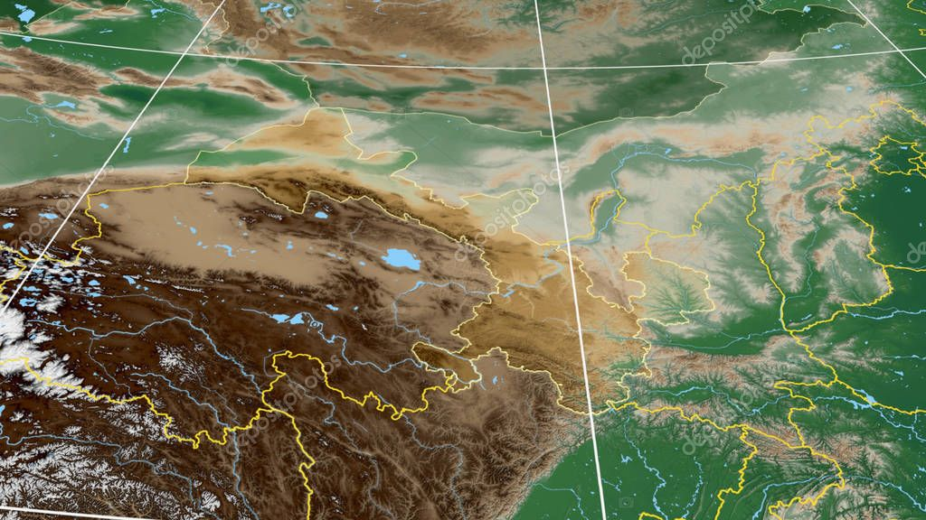 Gansu, region of China outlined. Color physical map