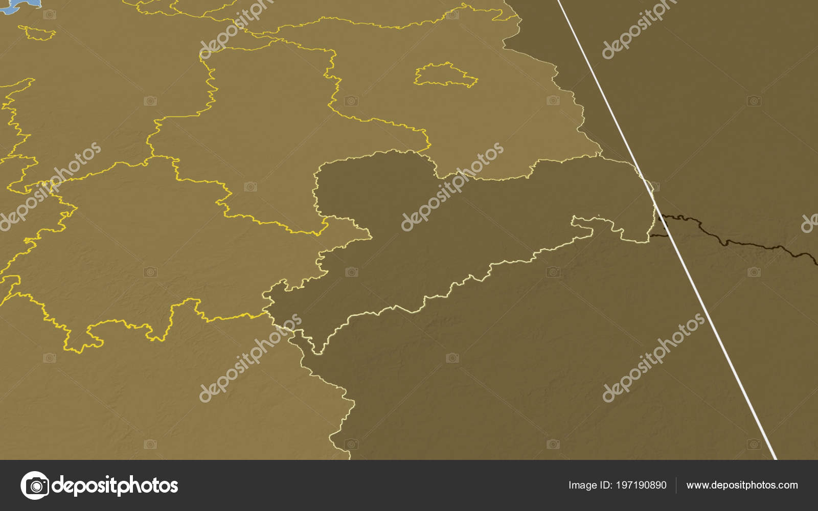 Elevation Map Of Germany.Sachsen Region Germany Outlined Bilevel Elevation Map Stock Photo