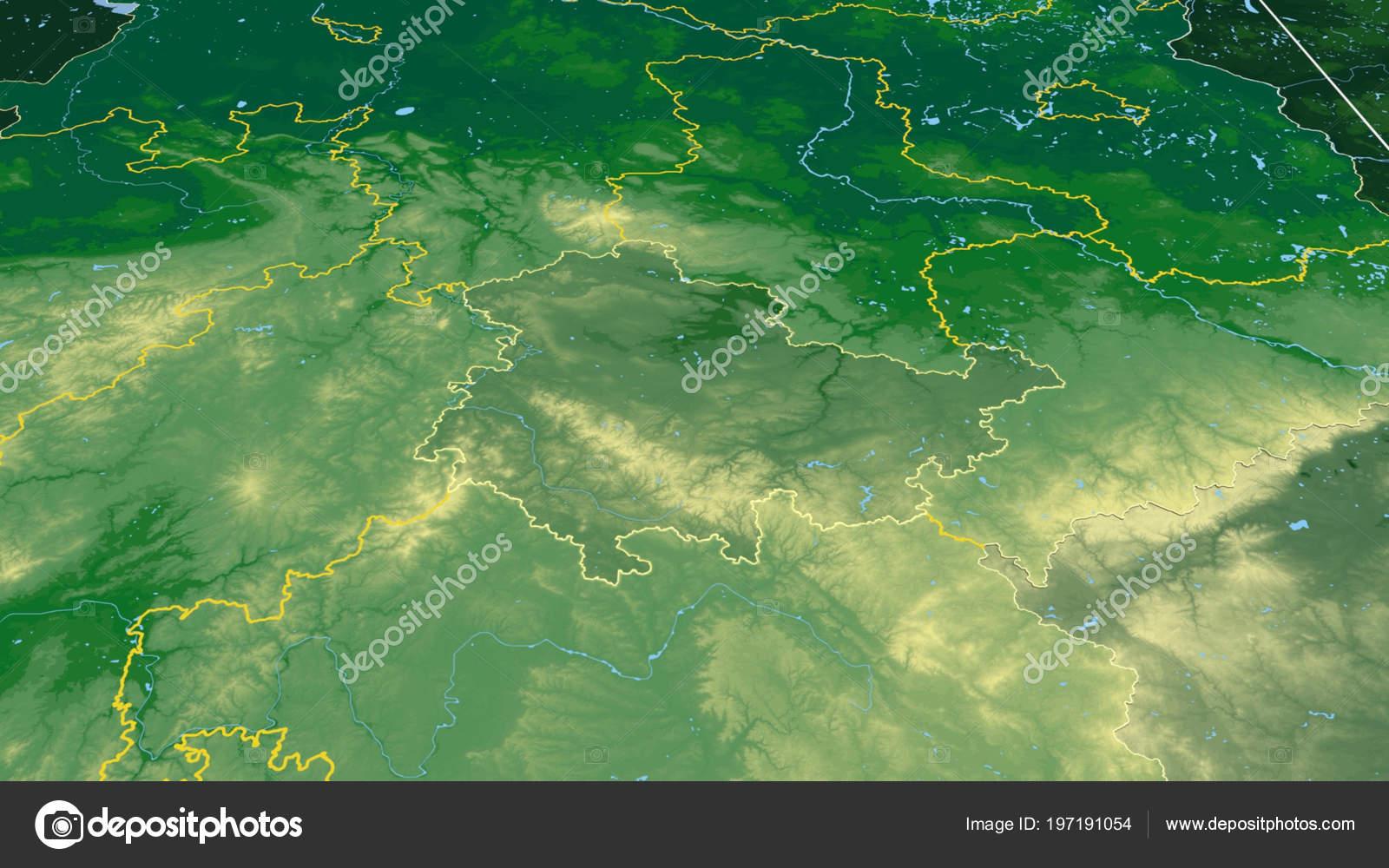 Carte Allemagne Thuringe.Thuringe Region Allemagne Decrites Carte Physique Couleur