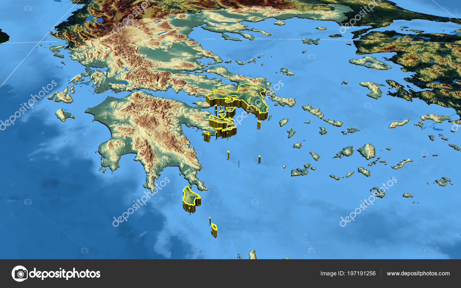 Attiki Region Greece Extruded Color Physical Map — Stock Photo ...